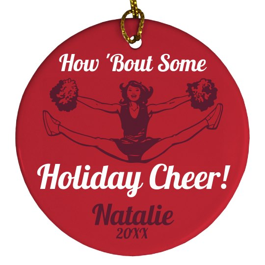 Christmas Cheerleader Ornament With Custom Name