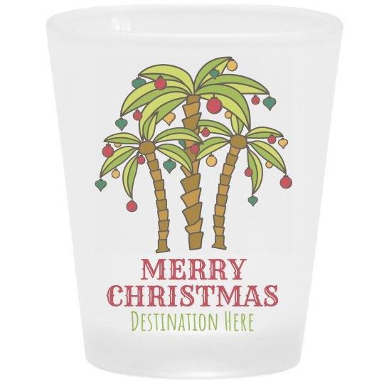 Christmas Palm Tree Vacation Shot Glass