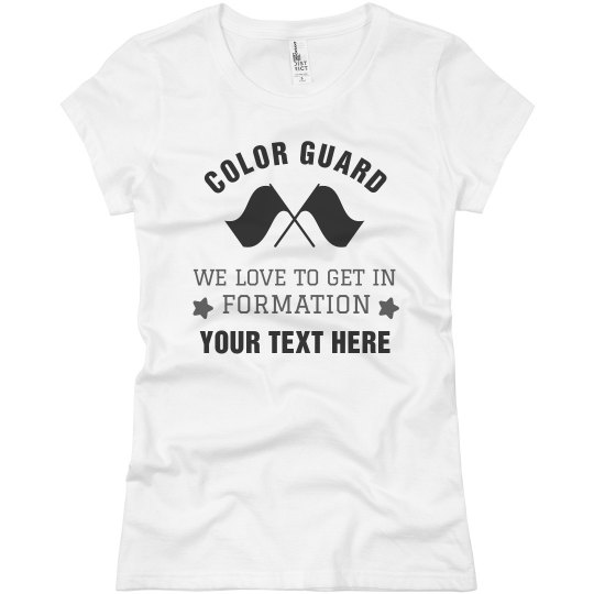 Color Guard We Love Formation Custom Text