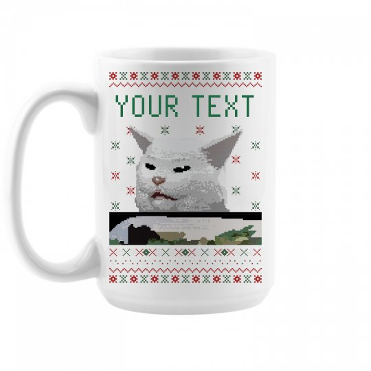 Confused Pixel Cat Mug