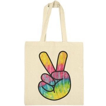 Cotton Canvas Peace Sign Bag
