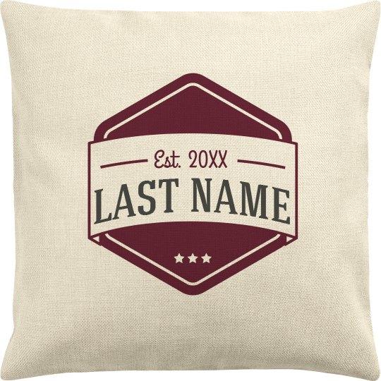 Couples Last Name Est. Date Pillow