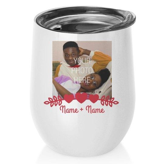 Couples Photo Wine Tumbler