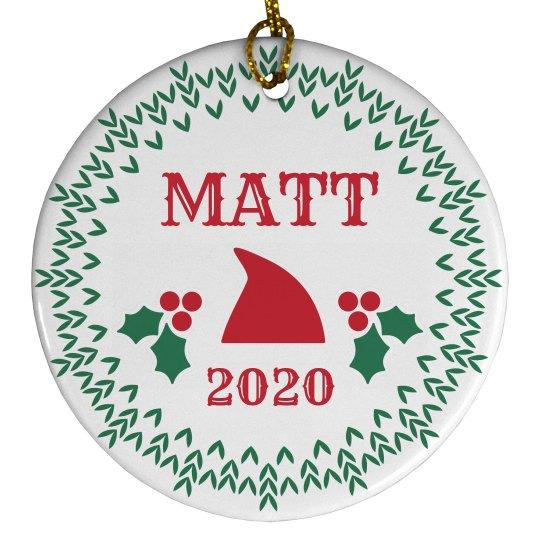 Custom Baby Name Santa Ornament