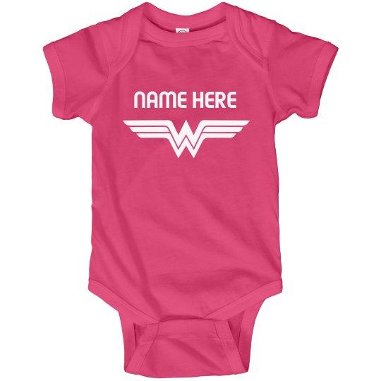 Custom Baby Name Wonder Girl Bodysuit