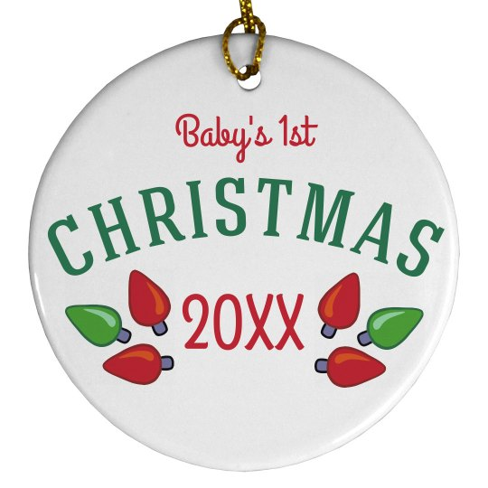 Custom Baby's Christmas Lights Ornament