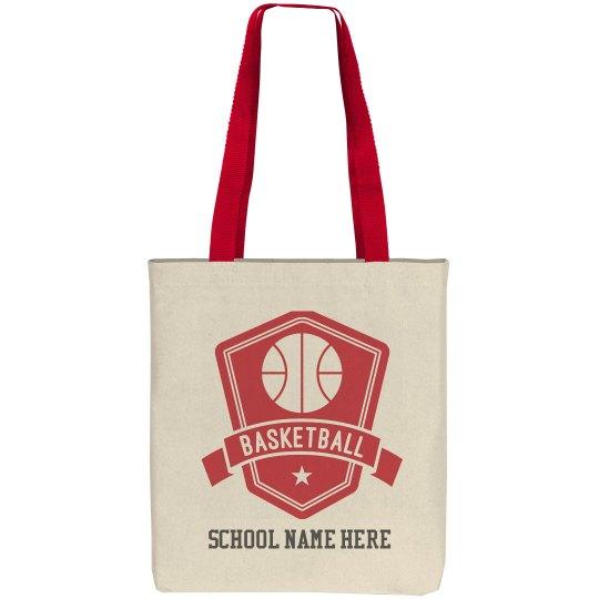 Custom Basketball Badge Tote Bag