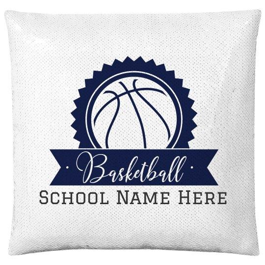 Custom Basketball Text Sequin Pillow