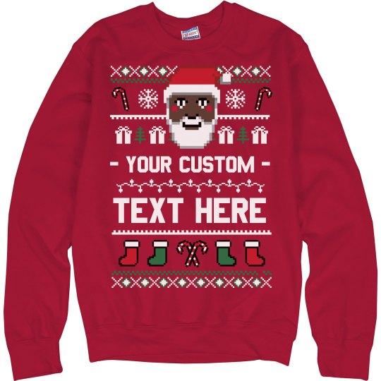 Custom Black Santa Ugly Sweater