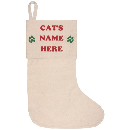 Custom Cat Name Christmas Stocking
