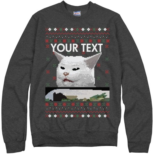 Custom Christmas Confused Cat Ugly Sweater