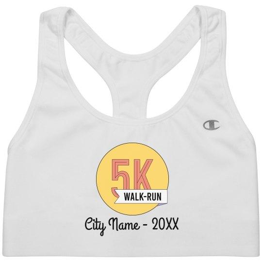Custom City & Date 5K Running Bra