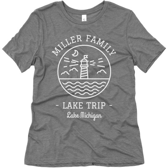 Custom Family Lake Trip Vacation Triblend T-shirts