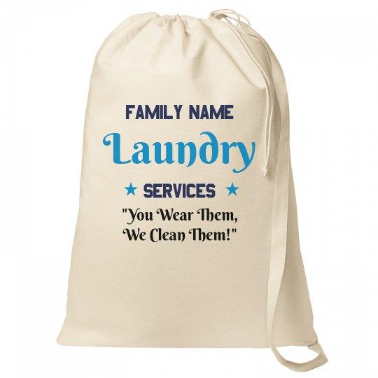 Custom Family Name Laundry Bag