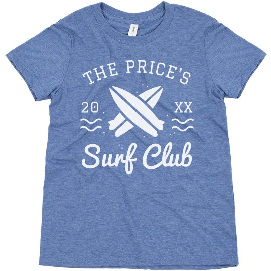 Custom Family Name Vintage Kid's Summer Surf Club Tee
