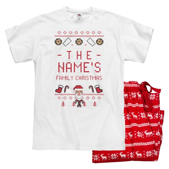 Custom Family Ugly Sweater Santa Jammies