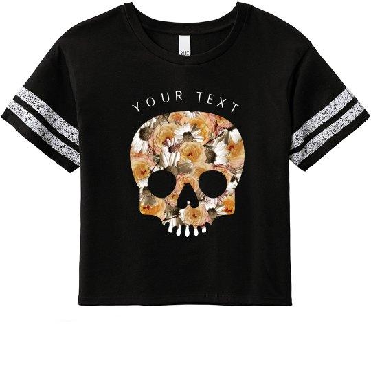 Custom Floral Skull Crop Top