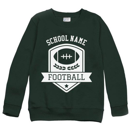 Custom Football Emblem Kids Youth Sweatshirt