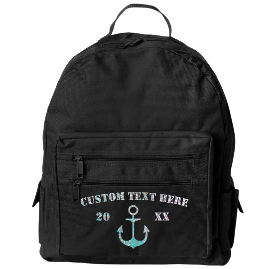 Custom Glitter Anchor BackPack