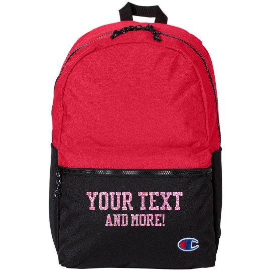 Custom Glitter Text Sports Bag