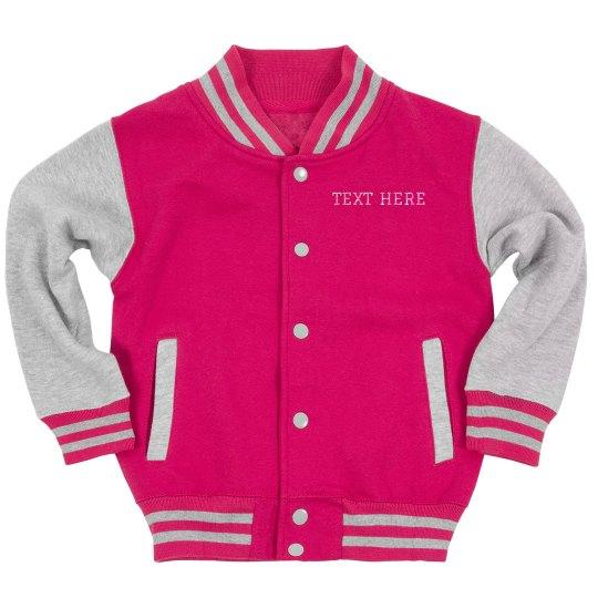 Custom Glitter Text Youth Bomber Jacket
