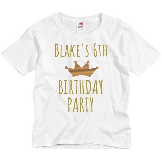 Custom Gold Metallic 6th Birthday Tee