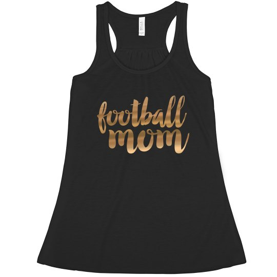 Custom Gold Metallic Football Mom