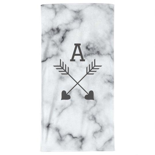 Custom Initial Marble Beach Towel