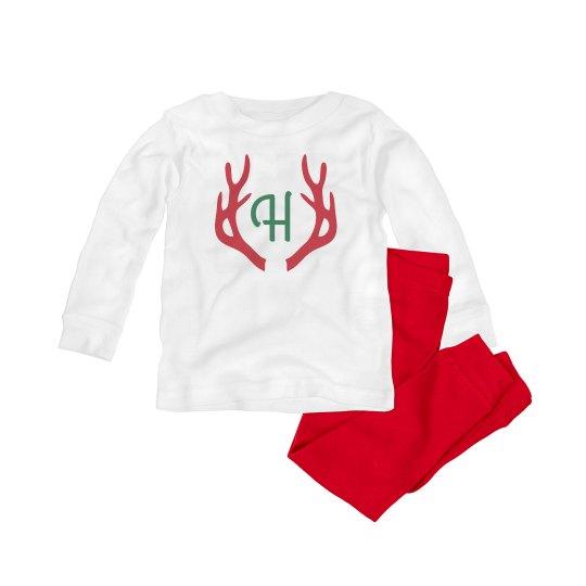 Custom Initial Reindeer Baby Pajamas