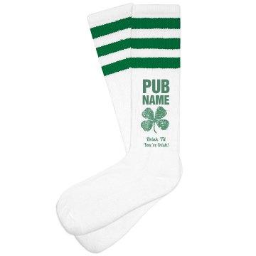 Custom Irish Pub Bar Socks Green