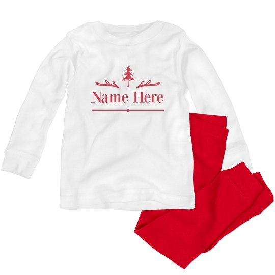 Custom Kids Name Here Christmas Tree Jammies