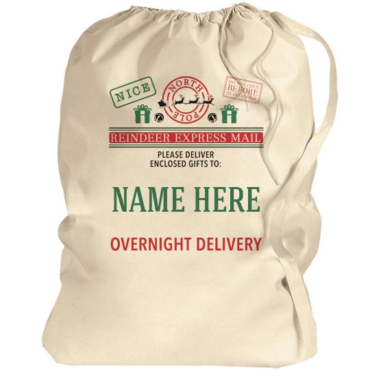 Custom Kids Name Santa Gift Bag