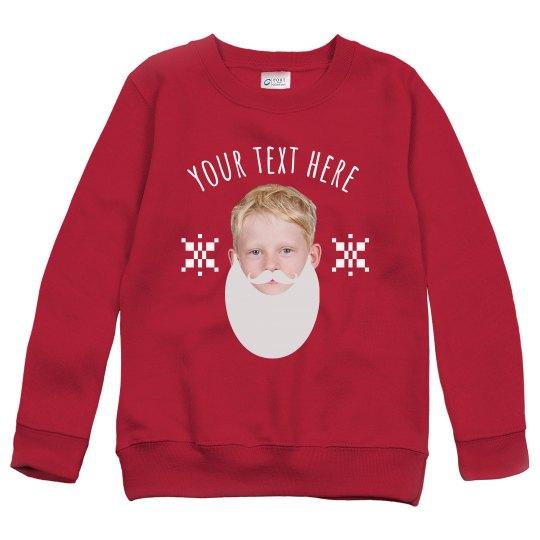 Custom Kids Santa Beard Sweater