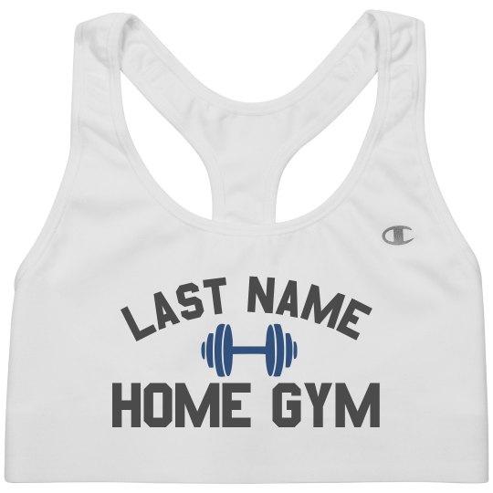 Custom Last Name Home Gym Bra