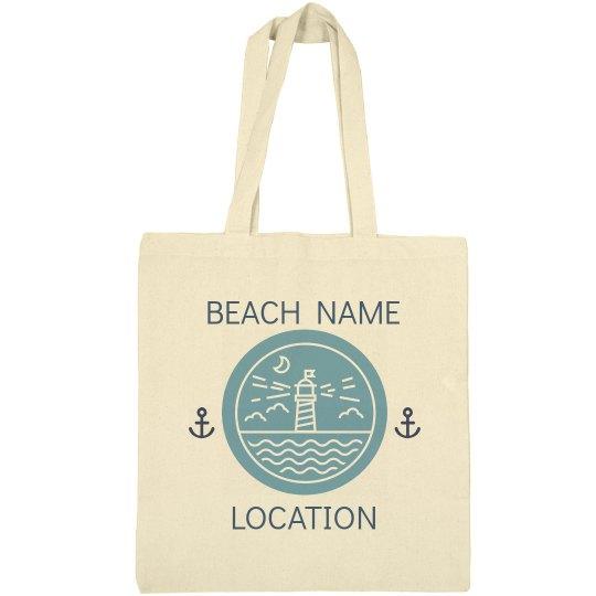 Custom Lighthouse Beach Tote Bag
