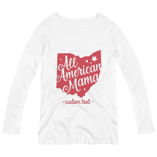 Custom Maternity All American Ohio Mama Long-Sleeve Tee