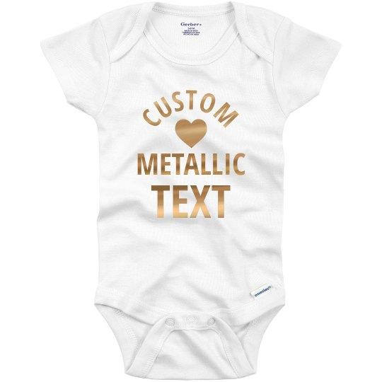 Custom Metallic Text Baby Gift