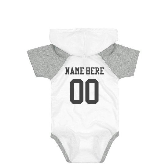 Custom Name & Number Sporty Baby Bodysuit