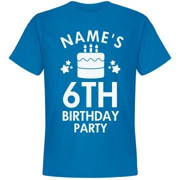 Custom Name 6th Birthday Party Tee