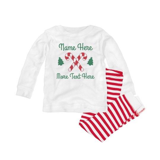 Custom Name Candy Cane Baby Pajamas
