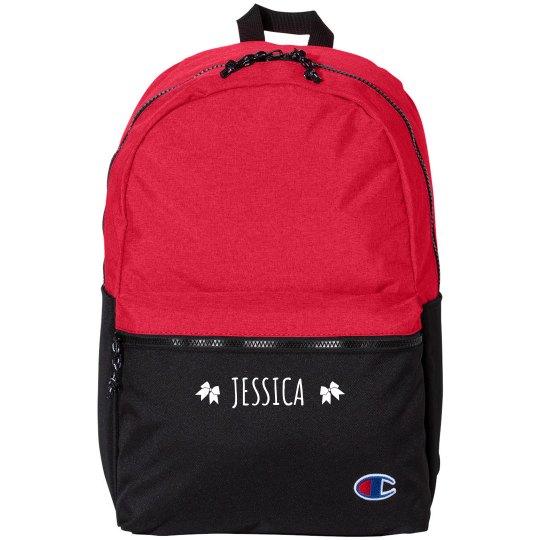 Custom Name Cheer Bow Champion Backpack