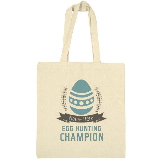 Custom Name Egg Hunting Campion Tote