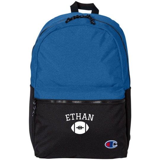 Custom Name Football Emblem Backpack
