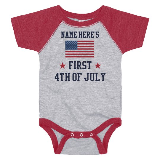Custom Name July 4th Bodysuit