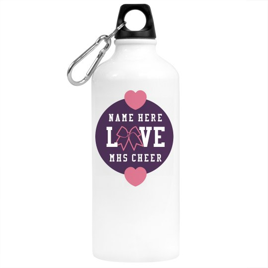 Custom Name Love Cheer Bow School Sports Water Bottle