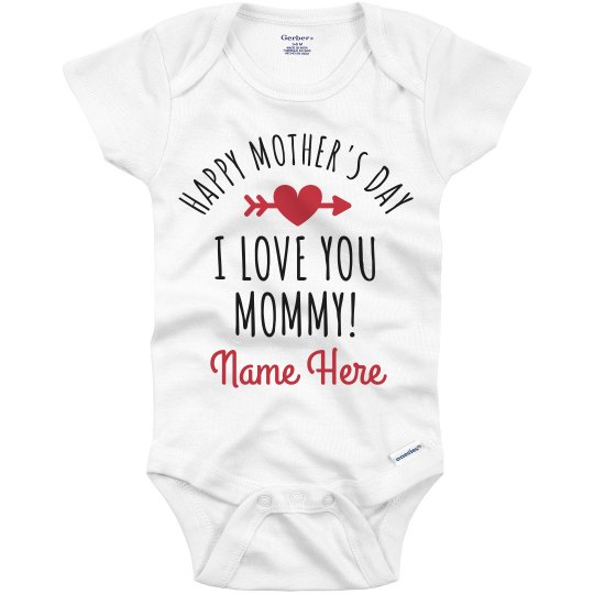 Custom Name Mothers Day Baby Outfit