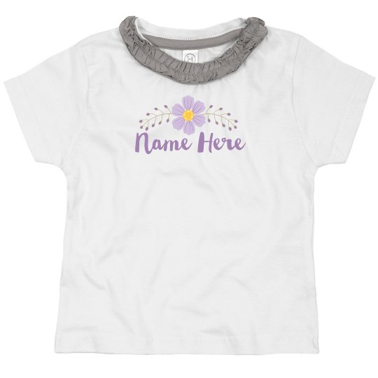 Custom Name Purple Flower