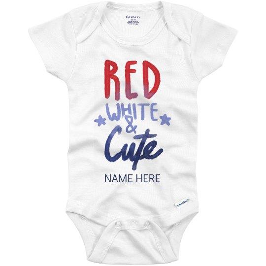 Custom Name Red White Cute Onesie