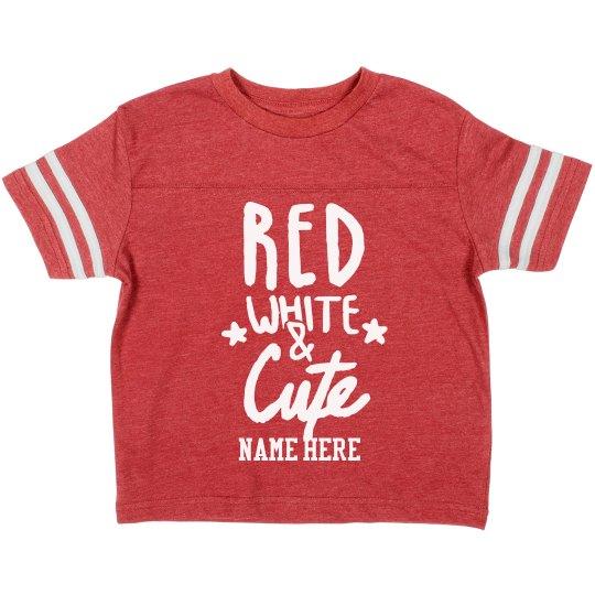 Custom Name Red White Cute Toddler