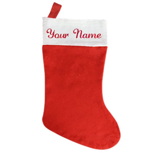 Custom Name stocking with glitter font
